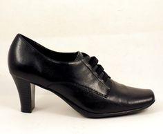 """Womens Granny Black Shoes Oxfords Size 7 M Aeroles Flexation 3"""" Heels #FlexationAerosoles #PumpsClassics"""
