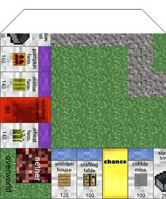 Papercraft Minecraft Monopoly With All The Cards And Money