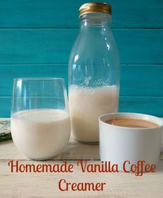 DIY Vanilla Coffee Creamer - A creamy, all natural vanilla flavored coffee creamer.  Only 25 calories for 2 tbsp.