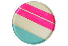 Neon Wood Plate, Hot Pink on OneKingsLane.com