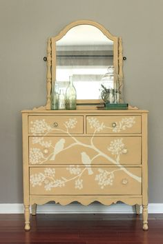 Yellow Vanity Dresser Hand Painted Bird and Branch Design - French Country Farmhouse Style on Etsy, $438.07 AUD