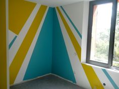 Ma dernière chambre d'ado ! Painting Stripes On Walls, Diy Wall Painting, Room Colors, Wall Colors, Wall Paint Inspiration, Kids Church Decor, Bedroom Decor, Wall Decor, Style Deco