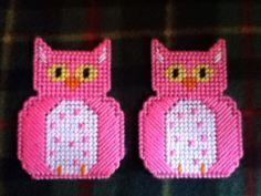 Plastic Canvas Hot Pink Owl Magnets