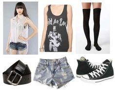 Distressed jeans, black graphic tee, white collar shirt, black socks, black converse shoes