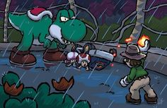 """A piece I did for the Popcade Art Show, which is a mash-up of Super Mario Bros. characters and Jurassic Park, in the style of """"Yoshi's Island. Incident at Isla Yoshi Sonic Nintendo, Nintendo World, Super Mario And Luigi, Super Mario Art, Park Pictures, Funny Pictures, Jurassic Park World, Zelda, Nerd Humor"""
