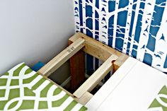IHeart Organizing: Playroom Progress - Sweet Seating Part 2 (support for corner, but also how to attach foam cushion to bookcase/bench)