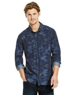 North Coast Pure Cotton Camouflage Print Slim Fit Denim Shirt