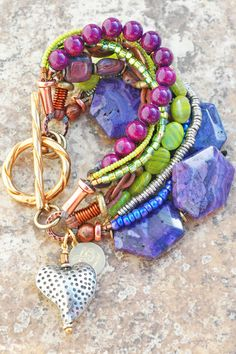 Purple, Green and Copper Artisan Mixed Media Heart Charm Bracelet