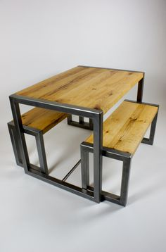Oak and Polished Steel Table Set Welded Furniture, Loft Furniture, Shelf Furniture, Wood Pallet Furniture, Iron Furniture, Industrial Style Dining Table, Industrial Design Furniture, Wooden Dining Tables, Wood Chair Design
