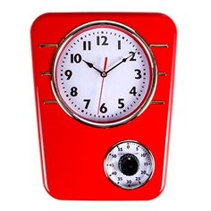 Retro Kitchen Clock With Timer. By Lilyu0027s Home (Red) Lily.
