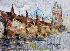 Olga Vinnitskaya. Prag, Aquarellmonotypie auf Papier.