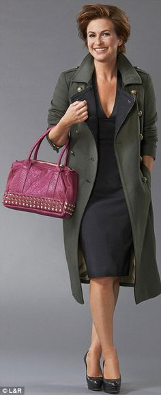 Emma Forbes with the Funky Town in cherry bobo leather - With the studs on the bag and the military detailing on the coat you are also checking off two key autumn looks