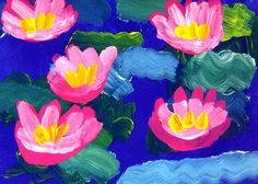 Monet's Waterlilies -We painted our projects in two steps. First, we painted the water, being sure not to blend the different colors too much in order to show reflection in the surface of the water. The next week, we painted the water lilies using three colors to give a more three-dimensional appearance