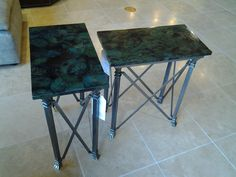 A pair of green top and metal base end tables made by Century Furniture