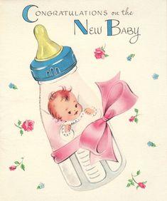 Felicitatie kaartje voor de geboorte van een baby.
