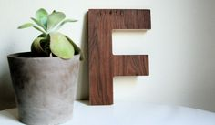 Retro Modern Wood Letters A-Z Pick Your Letter- F