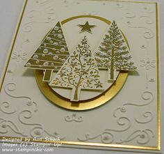 Stampin' Up! ,,, handmade Chritmas card from The Stampin' Schach ... close-up shows the gold embossing and mat layers .. generous scattering of pearls on gold embossed trees and on curly cue center of embossing folder texture background ... luv it!