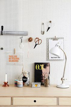 pegboard wall decor/organization.