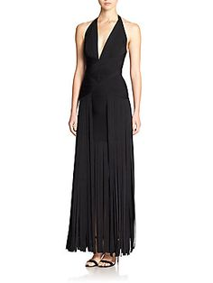 Herve Leger Rebekah Fringed Bandage Gown