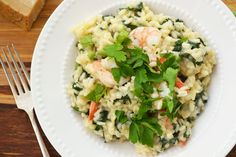 Spinach & Kale Risotto (With or Without Shrimp)