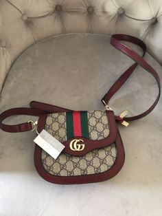 9f7eeb89fee Details about Gucci crossbody GG Monogram Shoulder Hand Bag Pouch Purse  Brown Auth