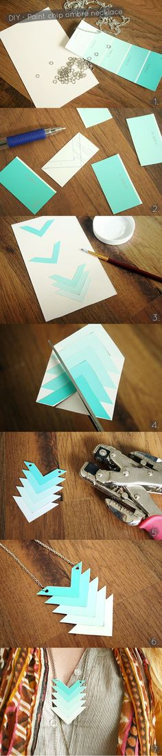 DIY �– Create a cute chevron ombre necklace with paint chips