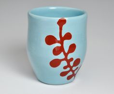 ceramic cup abstract berries in red and sky blue by  Shape and color