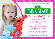 Elmo Pink Girl Birthday Party Invitation by SleepingOwlCreations