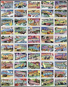 """""""Greetings From America"""" Stamps - April 4, 2002 marked a first in United States postage stamp history. It was the first time ever that a new commemorative postage stamp was  issued on the same day in every single state's capital city."""