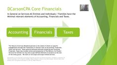 DCarsonCPA Accounting to Financials to Taxesmore at www.dcarsoncpa.com including other lines on Economic Research, Project Management and more.