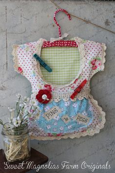 "Clothespin Bag Vintage Style Dress  ""Pins & Pegs"" applique ~ Crochet Lace Trim ~ One of a Kind  by SweetMagnoliasFarm, SOLD  to a Good Home !"