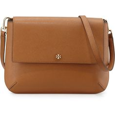Tory Burch Robinson Leather Messenger Bag ($450) ❤ liked on Polyvore featuring bags, messenger bags, brown messenger bag, courier bag, zipper bag, zip bags and leather courier bag