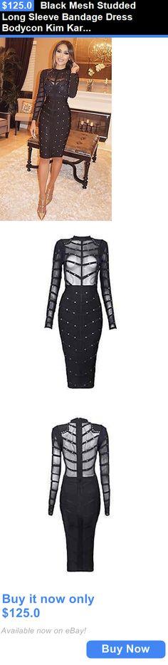 Celebrity Dresses: Black Mesh Studded Long Sleeve Bandage Dress Bodycon Kim Kardashian Celebrity BUY IT NOW ONLY: $125.0