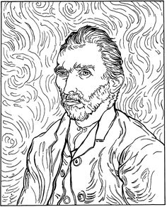 Free coloring page coloring-adult-van-gogh-autoportrait. coloring-adult-van-gogh-autoportrait