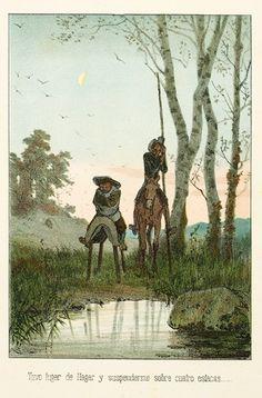 Miguel de Cervantes Saavedra. El ingenioso hidalgo D. Quijote de la Mancha. Nueva ed… Barcelona: Juan Aleu y Fugarull, 1879. 2 vol. (Biblioteca de Catalunya)