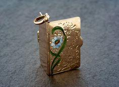 Antique Gold Pendant Charm - Victorian Souvenir Album Enamel Flower Pendant Charm