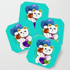 """Small, but mighty! Coasters are a bold way to bring creative designs into your space—without committing to a large art piece. Add them to your dining table, brighten up the living room and accessorize your next party. - Comes in a set of 4 - Size: 3 1/2"""" x 3 1/2"""" x 1/4"""" (H) - Lightweight, high density fiberboard wood - High quality print with glossy satin finish Neko Cat, Maneki Neko, Cat Coasters, Lucky In Love, Fashion Room, Large Art, Satin Finish, Vintage Designs, Creative Design"""