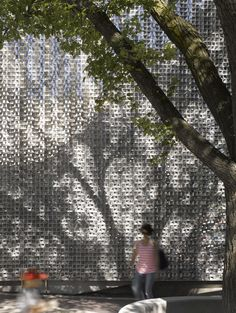 The Old Market Square Stage by 5468796 Architecture.  Reflective #aluminum curtain that can be folded back to reveal the stage.