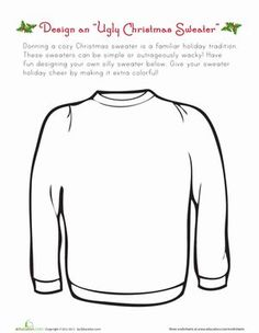 Christmas Fourth Grade Paper Projects Worksheets: Ugly Christmas Sweater!: