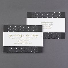 Although the dotted tulle overlay on these couture luxury wedding invitations is reminiscent of a vintage fascinator or blusher veil, the clean black and white shimmer card is decidedly modern.