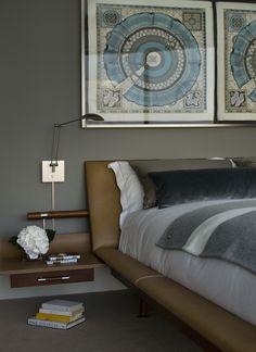 Patricia Gray | Interior Design Master bedroom - framed Hermes scarves as art