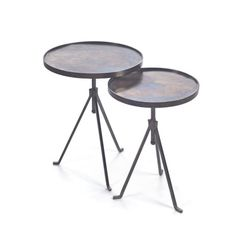 Reminiscent of vintage industrial style, the Hip Vintage Sable End Tables - Set of 2 stay stable on their three-legged design. Their durable iron. Living Furniture, Furniture Deals, Modern Furniture, Furniture Design, End Table Sets, Sofa End Tables, Occasional Tables, Side Tables, Coffee Tables
