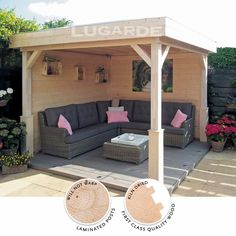 The Tenerife Gazebo by Lugarde features two open sides which allow in plenty of light and air but privacy and shade remain outstanding qualities of an outstanding design. http://www.gardensite.co.uk/garden-buildings/lugarde-tenerife-gazebo.htm