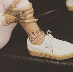 """Rihanna Rocks New """"1988"""" Ankle Tattoo Inked by Bang Bang"""