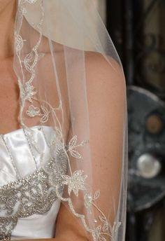 Designer One Tier Silver Embroidery Bridal Veil Fingertip Style VE310. $99.00, via Etsy.