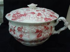 C1800 Red/Pink English Red/Pink Chamber Pot by FabricsAndFinery