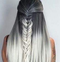 ombre braids hairstyles   silver and grey with black   long straight hair   half up half down fishtails   two tones   diy and howto   natural