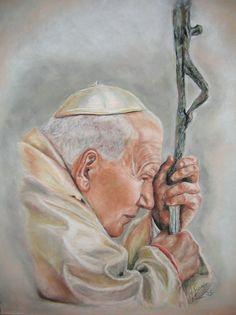 Pope John Paul II soft pastel painting on paper Saint Jean Paul Ii, Pape Jean Paul Ii, St John Paul Ii, Saint John, Paul 2, Catholic Art, Catholic Saints, Happy Feast Day, Juan Pablo Ll