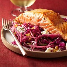 Fresh Ideas: 10 Easy, Healthy Dinner Recipes | Fitness Magazine. Pan- Seared Salmon with Warm Winter Slaw
