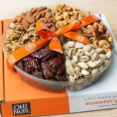 Nuts Holiday Gift Basket, Large Roasted Nut Variety Fresh Assortment Tray, Christmas Gourmet Food Prime Thanksgiving Delivery Idea for Men & Women Get Well Sympathy Fathers Mother & Valentines Day – Gift Basket Ideas Gourmet Food Gifts, Gourmet Recipes, Healthy Recipes, Healthy Treats, Holiday Gift Baskets, Roasted Nuts, Food Trays, Turkey Recipes, Snacks